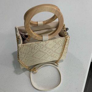 Like Dreams Ivory Wooden Handle Handbag